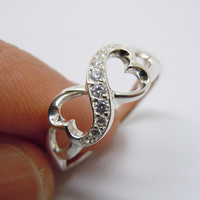 Sterling Silver Infinity Ring Rhinestones Heart Ring