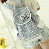 Strip Polka-dot Print Bowknot Backpack