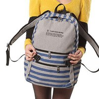 Leisure Retro Strip Print Canvas Backpack