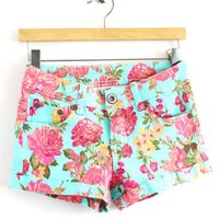 Retro Cuffed Floral Print Hot Shorts