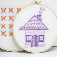 Embroidered Wall Art Purple Cottage House Full of by MissSarahMac