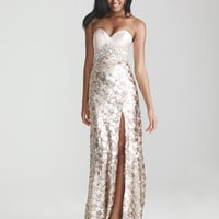 Light Gold Sequin & Satin Sweetheart Prom Dress - Unique Vintage - Prom dresses, retro dresses, retro swimsuits.