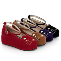 New Women Flat Buckle Multicolor Korea Sexy Vogue Cat Zipper Lady Platform Shoes