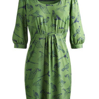 Drawn Birds Bracken Green Wickmere Womens Woven Tunic  | Joules UK