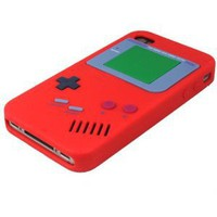 For iPhone: Nintendo Game Boy Gameboy Silicone Case Cover For iPhone 4 RED: Cell Phones & Accessories