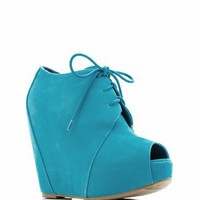 peep toe wedge bootie &amp;#36;28.60 in BLACK CAMEL CORAL FUCHSIA TAUPE TURQUOISE - New Shoes | GoJane.com