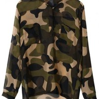 Camouflage Chiffon Print Top with High-Low Hemline