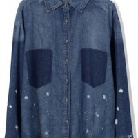 Denim Long Sleeve Button Up Shirt with Bleach Detail