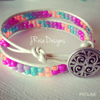 Bright Summer Color Leather Wrap