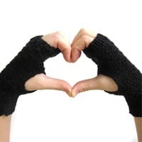 Black Fingerless Gloves Mittens Knit Handwarmers Women Accessories