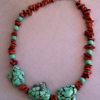 Turquoise and Brown Beaded Choker Necklace
