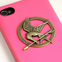 The Hunger Games Logo Mockingjay pendant pink by qizhouhuang