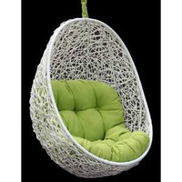 Belina - All Season White Wicker Porch Swing Chair - Great Hammocks - DL013WHT