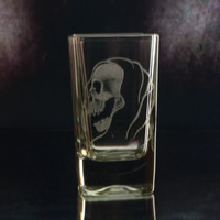 grim reaper shot glass, glassware, custom barware, grim reaper gift ideas , groomsmen gift, ooak shot glass