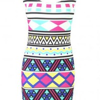 Multi Color Bright Aztec Print Sleeveless Mini Dress