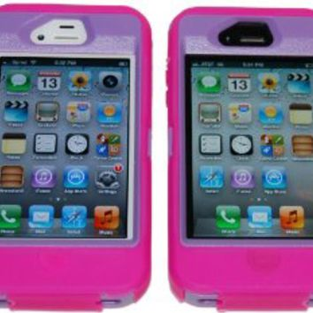 Iphone 4 4S Three Layer Case Hot Pink and Purple - Comparable to Otterbox Defender + 1 Cool Colors USB charger cord for iphone & Silicon Braclet