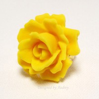 Ring - Yellow Vintage Style Rose Garden Ring | DesignedByAudrey - Jewelry on ArtFire