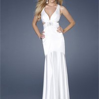 Mermaid Strap Deep V-neck Beaded Cross Back White Floor-length Prom Dress PD1519