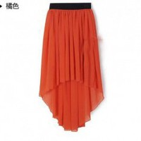 European Style Pure Color Irregular Lap Chiffon Long Skirt Orange