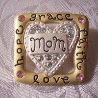 Mom Love Hope Faith Grace Heart Pin by PrettyJewelryThingsStore