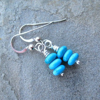 Turquoise Earrings  Sterling Silver  Blue Stack by ZorroPlateado