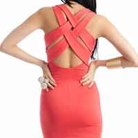 cross back dress $20.70 in BLACK CORAL ROYAL - Dressy | GoJane.com