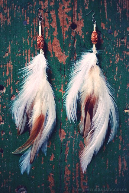 Cowboy Long White Feather Earrings by francisfrank on Etsy