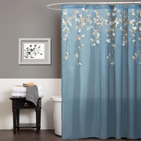 Lush Decor Flower Drops Federal Blue/ White Shower Curtain | Overstock.com