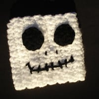 Jack Skellington inspired crochet coffee cozy - white - black - nightmare - christmas - beverage cozy - cup cozy -cup grip - bts- halloween