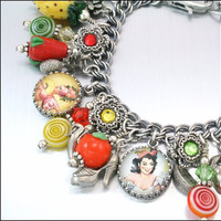Charm Bracelet Silver Jewelry Tutti Frutti by BlackberryDesigns