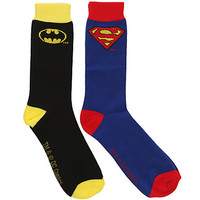 DC Comics Batman Superman Logo Men's Crew Socks 2 Pack | Hot Topic