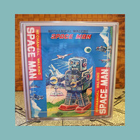 robot tissue box cover retro vintage 1950's tin toy outer space bathroom decor kitsch