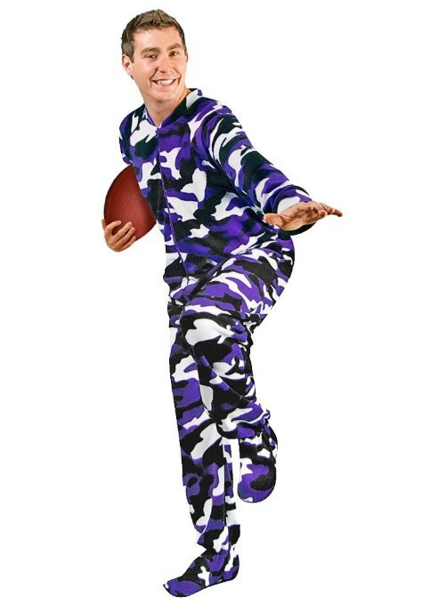 Purple Camo Adult Footed Pajamas with Drop Seat - CLEARANCE