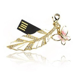 Fashion Jewelry USB Flash Drive 4 Gb with Key Chain Attachment, Swarovski Crystal White and Gold Leaf with Butterfly Design, Gold Finished, High Quality, Rotary Design, Packed in Beautiful Gift Box
