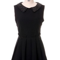 Bling Bling Beads Collar Pleated Dress in Black - Retro, Indie and Unique Fashion