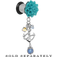 0 Gauge Aqua Flower Nautical Anchor Dangle Plug | Body Candy Body Jewelry