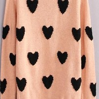 Cute pink heart round neck long sleeve wool sweater from bebpilooo