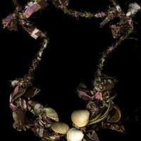 Mermaids Necklace made of Fabric & Common Cockle Shells from Wales UK | Linandara - Jewelry on ArtFire
