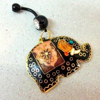 Belly button ring, naval ring with black Cloisonné elephant charm 14ga