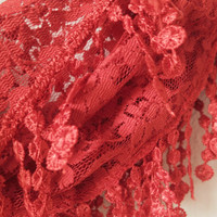 Dainty Floral Lace Scarf, Orange Cinnamon Scarf, Scarf with Lace Edges, New Collection