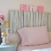 Reclaimed Pallet Wood Shabby Chic Headboard - Gray / Blue / White (Twin)