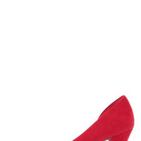 Chinese Laundry Angelina Chili Red Suede D'Orsay Kitten Heels
