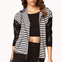Striped Faux Leather Zip Up Hoodie | FOREVER 21 - 2061992617