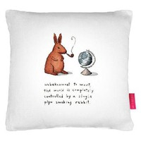 Pipe-smoking Rabbit Cushion