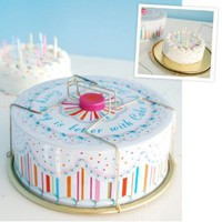 "FROSTED BIRTHDAY CAKE Tin Carrier 13"" Glitterville NEW with handles"