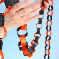 HALLOWEEN Metal Chain Garland Glitterville Orange Black NEW