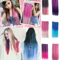 Autofor Newfangled Fashionable Multicolor Gradually Varied One Piece Straight Synthetic Clip-on Hair Extension 60cm Length,Multiple Choice