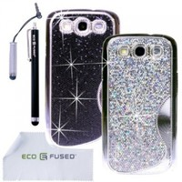 ECO-FUSED 7 pieces Bling Sparkle Hard Cover Case Bundle for Samsung Galaxy S III S3/ 2 Sparkle Hard Cover Cases (Silver/Black)/2 Stylus (Black/Silver)/2 Screen Protectors - ECO-FUSED Microfiber Cleaning Cloth included:Amazon:Cell Phones & Accessories