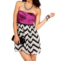 Magenta Strapless Belted Dress