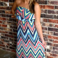 Chevron Dot Maxi Dress